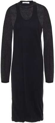 Helmut Lang Layered Stretch And Ribbed-knit Dress