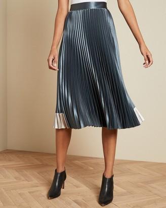 Ted Baker Contrast Panel Pleated Midi Skirt
