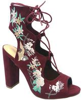 Wild Diva Burgundy Floral Lace-Up Morris Sandal