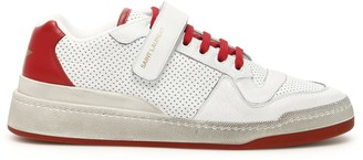 Saint Laurent SL24 SNEAKERS 39 White, Red Leather