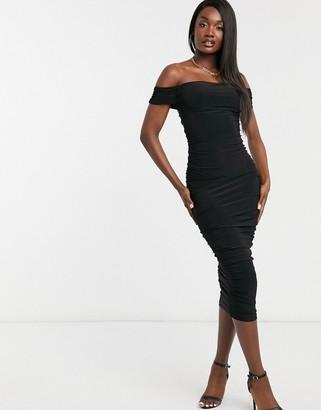 Club L London Club L bardot slinky bardot dress in black