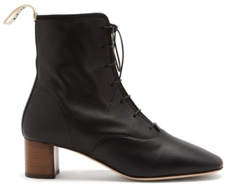 Loewe Squared-toe Block-heel Leather Boots - Black