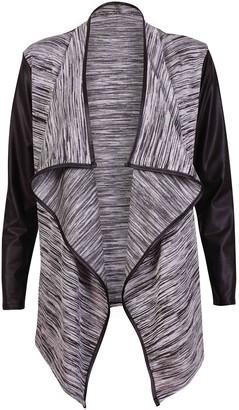Purple Hanger Womens Long Sleeve Ladies Stretch Wet Look Wrapover Waterfall PVC PU Trim Open Cardigan Jacket Coat Grey 12 - 14