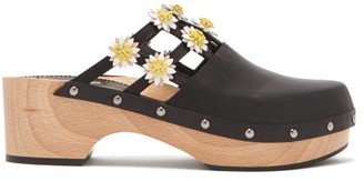 Fabrizio Viti - Jean Floral Applique Leather Clogs - Womens - Black White