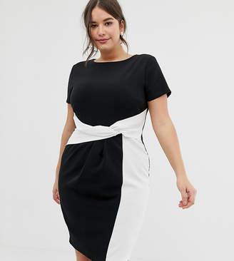 Paper Dolls Plus plus bodycon midi dress in colour block with twisted waist detail in mono-Multi