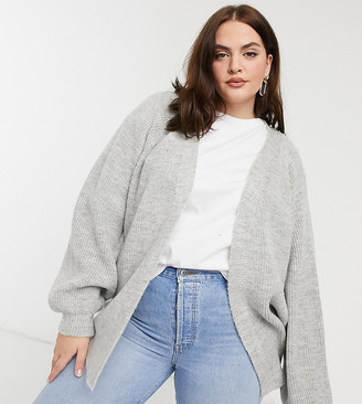 ASOS DESIGN Curve edge to edge boxy cardigan in grey
