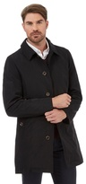 Jeff Banks Big And Tall Black Button Fastening Mac Coat