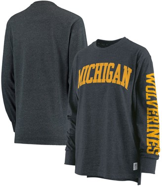 Women's Pressbox Navy Michigan Wolverines Plus Size Two-Hit Canyon Long Sleeve T-Shirt