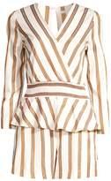 Maje Striped Peplum Suit Romper
