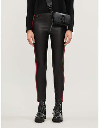 The Kooples Side-stripe faux-leather trousers