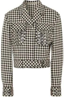 Bottega Veneta Eyelet-embellished Gingham Cotton And Wool-blend Jacket