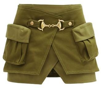 Balmain Horsebit Cotton-blend And Wool-panel Wrap Skirt - Khaki