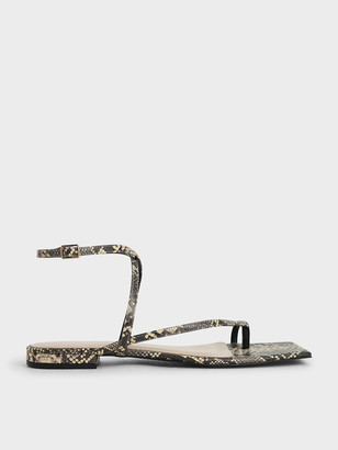 Charles & Keith Snake Print Strappy Toe-Ring Sandals