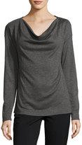 Three Dots Draped-Neckline Knit Top, Gray/Black