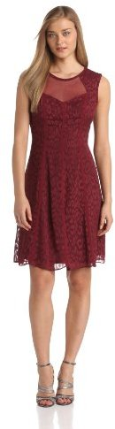 Adrianna Papell Women's Sleeveless Illusion-Neck Fit-and-Flare Dress