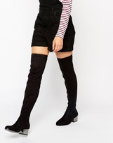London Rebel Over The Knee Boots With Electroplated Heel