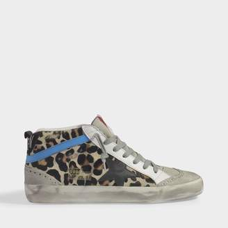 Golden Goose Mid Star Sneakers In Leopard Pony Leather And Black Star