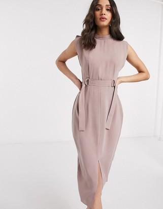 ASOS DESIGN cap sleeve split sleeve midi dress with d-rings in pink