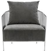 Eichholtz Knox Armchair Upholstery Color: Gray, Leg Color: Silver
