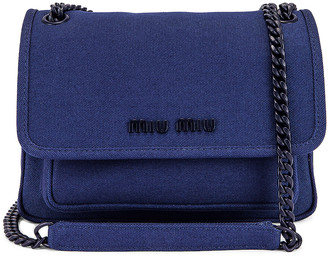 Miu Miu Leather Crossbody Bag in Bluette | FWRD