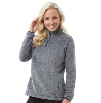 Weird Fish Womens Maiya 1/4 Zip Plush Fleece Navy