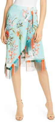 Fuzzi Fringe Trim Floral Print Mesh Faux Wrap Skirt