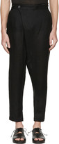 Isabel Benenato Black Linen Wrap Front Trousers