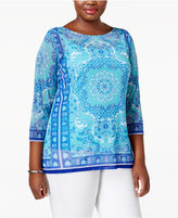 Charter Club Plus Size Printed Mesh Boat-Neck Top, Created for Macy's