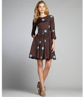 Cynthia Rowley chocolate and cerulean polka dot silk shirred a-line dress