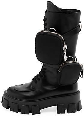 40e1c98bc95ff Prada Women's Lug-Sole Leather Combat Boots