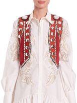 Roberto Cavalli Embellished Suede Vest