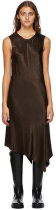 Ann Demeulemeester Brown Satin Asymmetric Lambeth Dress
