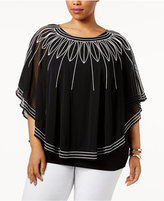 Alfani Plus Size Embroidered Poncho Top, Only at Macy's