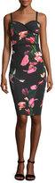 Black Halo Daria Floral-Printed Sheath Day Dress