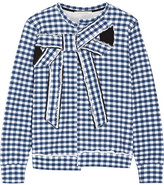 Marc Jacobs Bow-embellished Gingham Cotton-jersey Sweatshirt - Blue