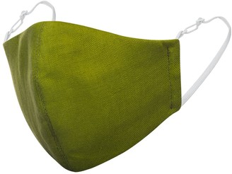 Face My Mask Olive Green Linen Cotton Face Mask With Filter Pocket