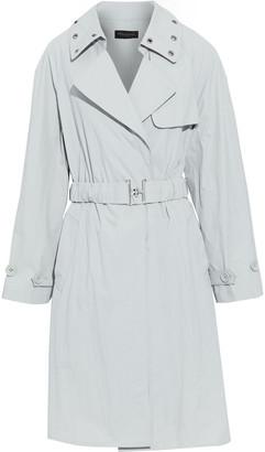 Donna Karan Eyelet-embellished Crinkled-poplin Trench Coat