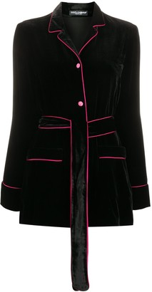 Dolce & Gabbana Contrast Trims Velvet Jacket