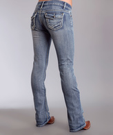 Stetson Medium Blue Embossed-Button Bootcut Jeans - Women & Plus