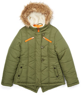 KC Collections Olive Hooded Quilted Bomber Jacket - Girls