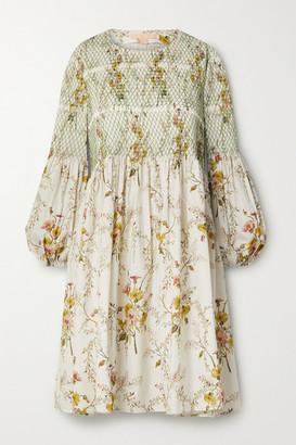Brock Collection Shirred Floral-print Cotton-blend Poplin Mini Dress - Beige