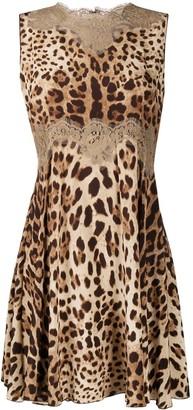 Dolce & Gabbana Leopard-Print Lace-Insert Dress