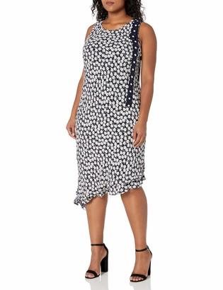 Taylor Dresses Women's Plus Size Asymetric Mini Daisy Double Tier Maxi Black/White 20W