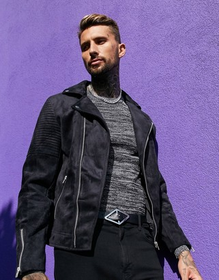 ASOS DESIGN faux suede biker jacket in black