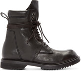 Rick Owens Black Leather Lace-Up Army Boots