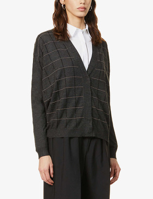 Brunello Cucinelli Bead-embroidered cashmere and silk-blend cardigan