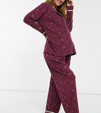 Loungeable Maternity gold foil snowflake super soft traditional pyjama set in dark red