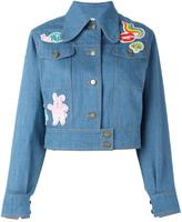 Olympia Le-Tan beaded patch denim jacket - women - Cotton/PVC - 34
