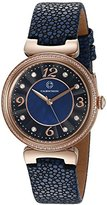 Cabochon Women's 'Saga' Quartz Stainless Steel and Blue Leather Casual Watch (Model 16561-RG-03)