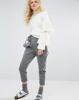 I Love Friday Cropped Pants With Faux Fur Pom Poms